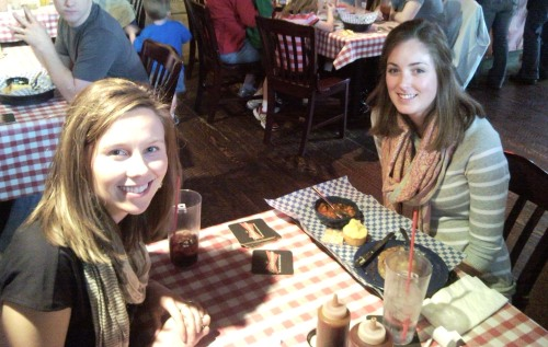 Siouxland Chamber Director of Investor Relations, Beth Trejo, and Social Media Intern, Sarah Thiele, spotted at Famous Daves