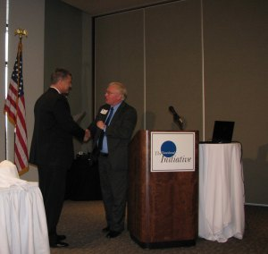 Jeff Lapke (left), who serves as Chairman of The Siouxland Initiative accepts an award from Ron Starner (right), Executive Vice President of Site Selection magazine