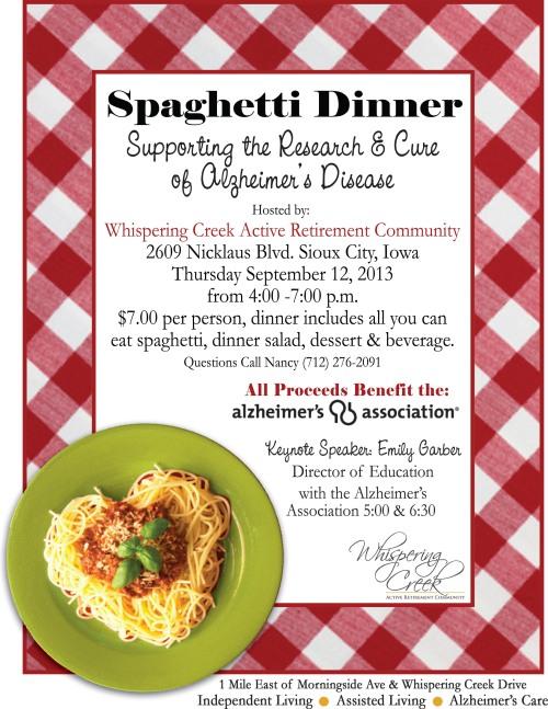 Spaghetti Dinner ALZ 2013 Flyer OL